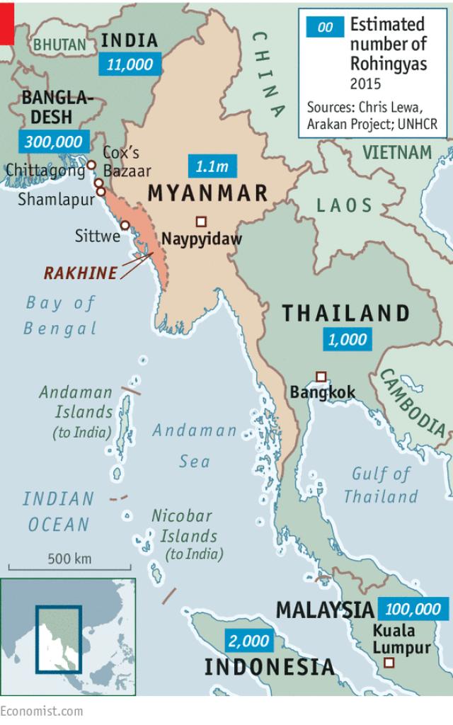 Lokacija domovine Rohingya: Rakhine (Arakan)