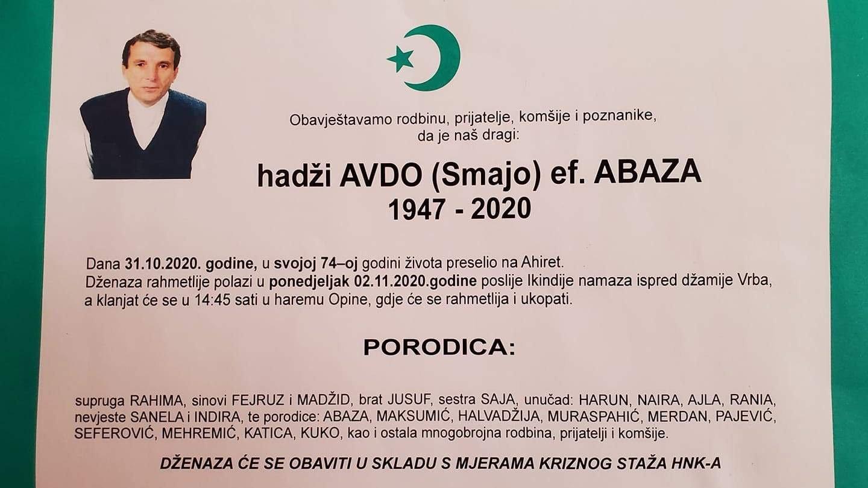 Na Ahiret preselio Avdo ef. Abaza