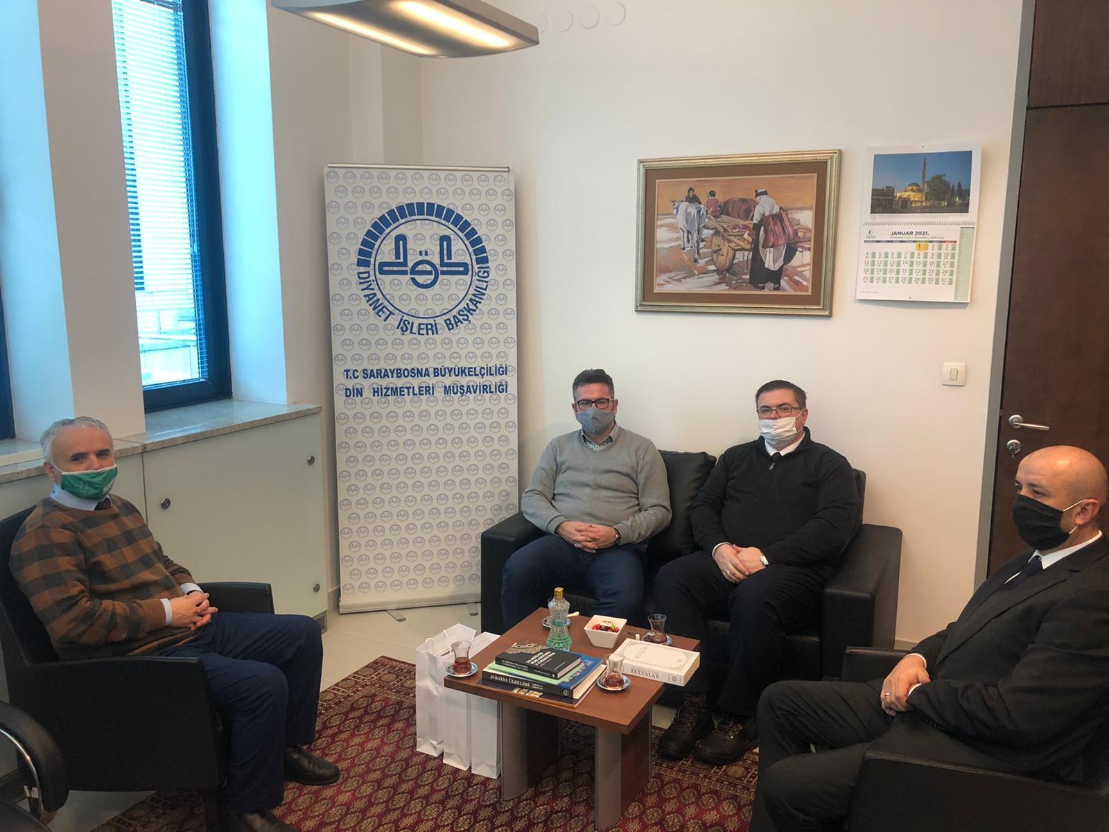 DELEGACIJA UDRUŽENJA ILMIJJE POSJETILA SAVJETNIKA ZA VJERSKA PITANJA U AMBASADI REPUBLIKE TURSKE