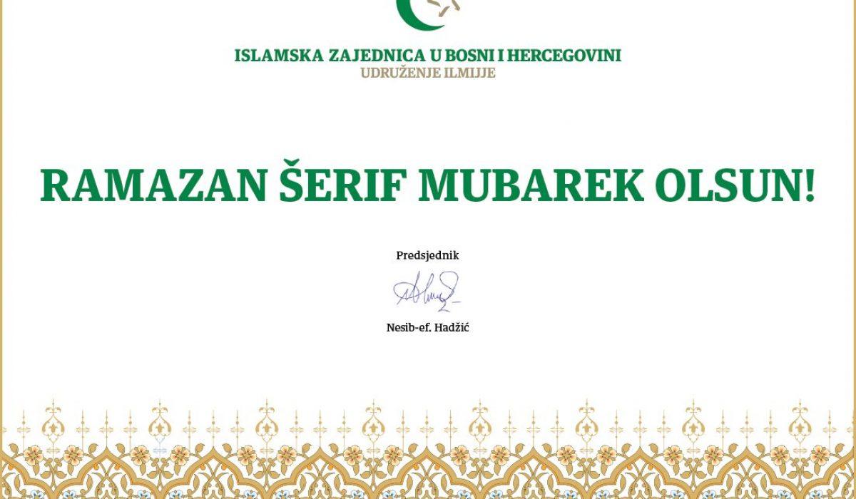 Čestitka ilmijja Ramazan 2020 web